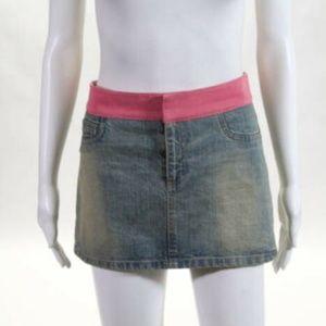 Alice + Olivia Denim Mini Skirt with Pink Ribbon